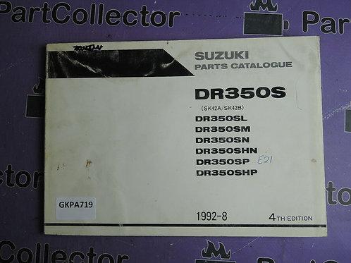 1992-8 SUZUKI DR350S PARTS CATALOGUE 9900B-30078-030