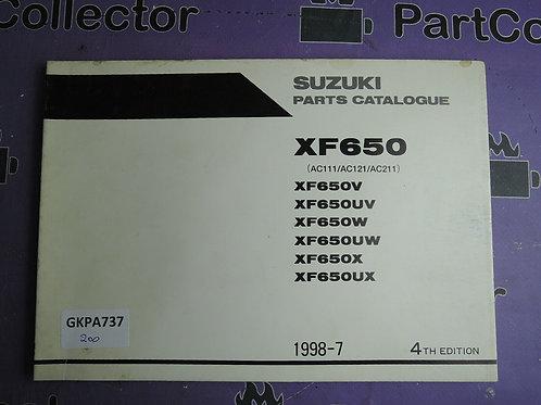 1998-7 SUZUKI XF650 PARTS CATALOGUE 9900B-30115-020