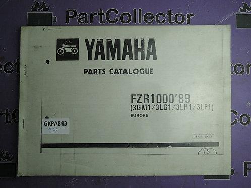 1989 FZR1000HA FZR1000 BOOK PARTS CATALOGUE 193GM-300E1