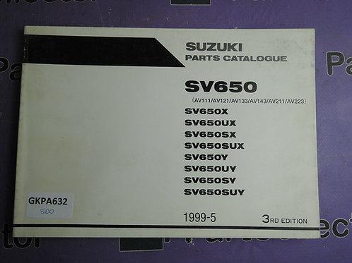 1995-5 SUZUKI SV650 PARTS CATALOGUE 9900B-30127-010