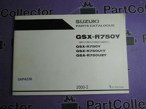2000-2 SUZUKI GSX-R750Y PARTS CATALOGUE
