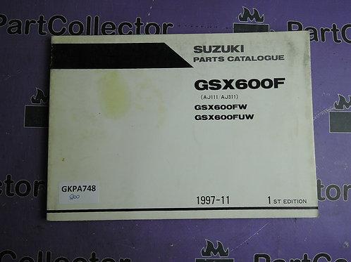 1997-11 SUZUKI GSX600F PARTS CATALOGUE 9900B-30119