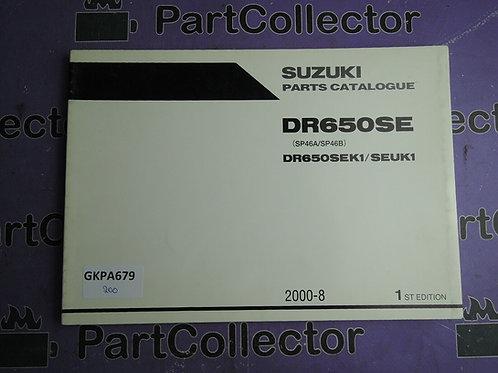 2000-8 SUZUKI DR650SE PARTS CATALOGUE 9900B-30137
