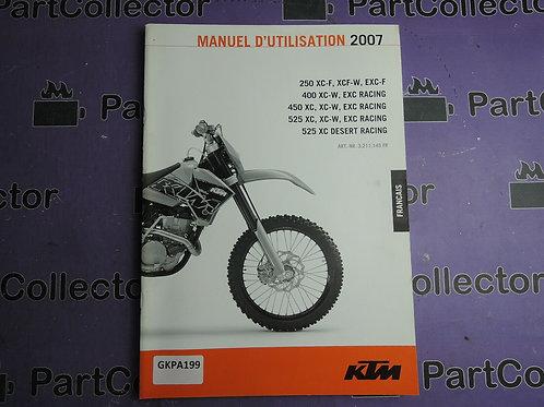2007 KTM 400 450 525 XC MANUEL D'UTILISATION 3.211.145FR