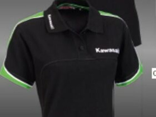 KAWASAKI POLO SPORTS SHIRT FEM WOMENS BLACK M MEDIUM GENUINE 139SPM0027 NOS