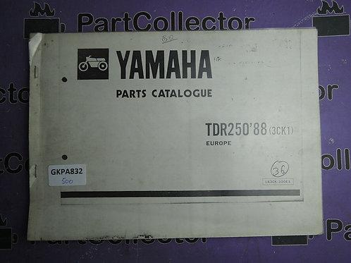 1988 YAMAHA TDR250 BOOK PARTS CATALOGUE 183CK-300E1