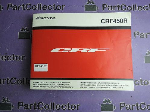 2008 HONDA CRF450R OWNER'S MANUAL&COMPETITION HANDBOOK 3RMEN620