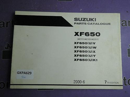 2000-6 SUZUKI XF650 PARTS CATALOGUE 9900B-30115-040