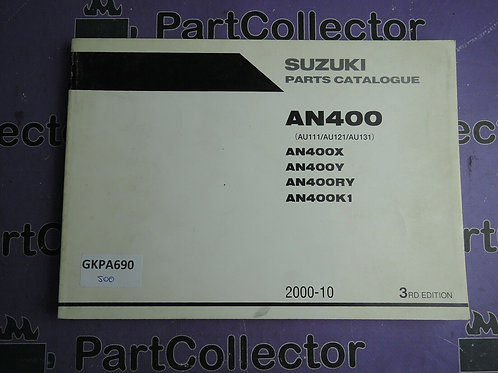2000-10 SUZUKI AN400 PARTS CATALOGUE 9900B-30128-020