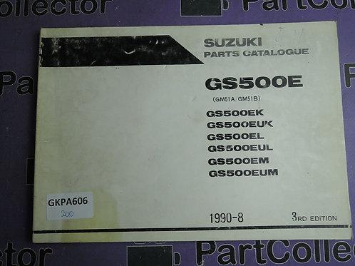 1990-8 SUZUKI GS500E PARTS CATALOGUE 9900B-30071-020