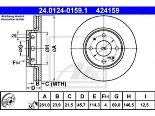2x ATE 24.0124-0162.1 SET OF BRAKE DISC RENAULT OPEL NISSAN 424162