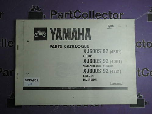 1992 YAMAHA XJ 600S BOOK PARTS CATALOGUE 124BR-300E1