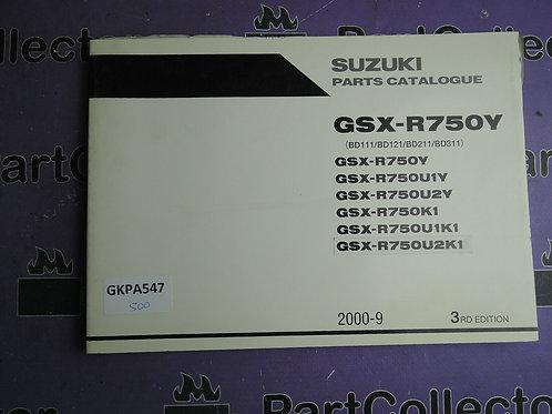 2000-9 SUZUKI GSX-R750Y PARTS CATALOGUE 9900B-30135-010