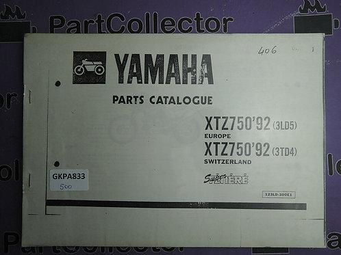 1992 YAMAHA XTZ 750 B00K PARTS CATALOGUE 123LD-300E1