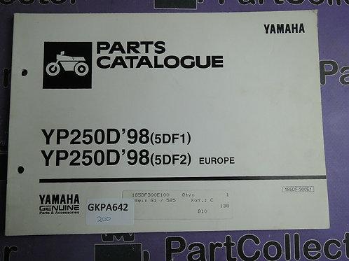 1998 YAMAHA YP250D PARTS CATALOGUE 185DF-300E1
