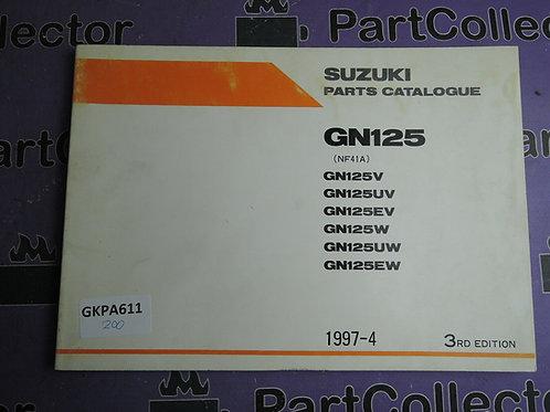 1997-4 SUZUKI GN125 PARTS CATALOGUE 9900B-20064-010