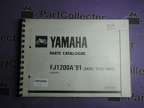 1991 YAMAHA FJ 200 BOOK PARTS CATALOGUE 113XW-300EA