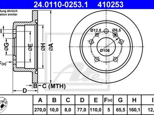 2x ATE BRAKE DISC SET OPEL VECTRA VAUXHALL CALIBRA A 24.0110-0253.1 410253