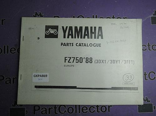 1988 YAMAHA FZ 750 BOOK PARTS CATALOGUE 183DX-300E1