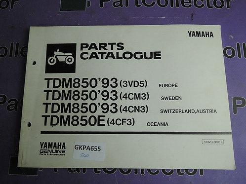1993 YAMAHA TDM850 PARTS CATALOGUE 133VD-300E1