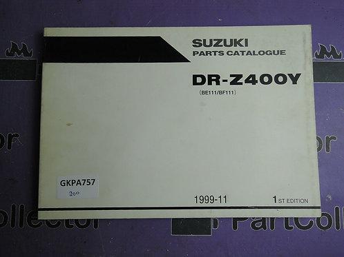 1999-11 SUZUKI DR-Z400Y PARTS CATALOGUE 9900B-30132