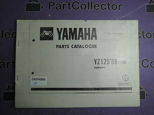 1988 YAMAHA YZ 125 BOOK PARTS CATALOGUE 182VN-300E1