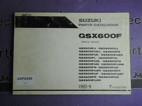 1993-9 SUZUKI GSX600F PARTS CATALOGUE 9900B-30065-060