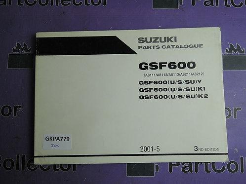 2001-5 SUZUKI GSF600 PARTS CATALOGUE 9900B-30133-020