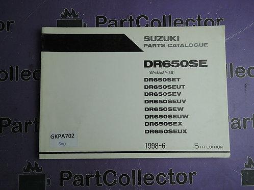 1998-6 SUZUKI DR650SE PARTS CATALOGUE 9900B-30102-030
