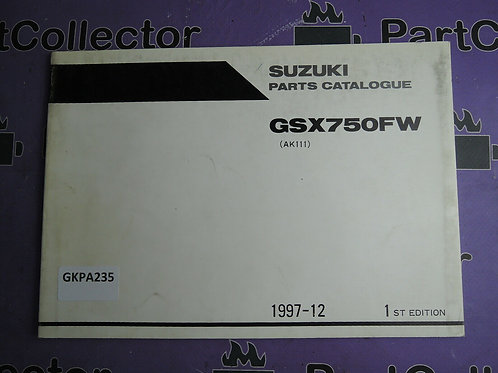 1997-12 SUZUKI GSX 750FW PARTS CATALOGUE 9900B-30122