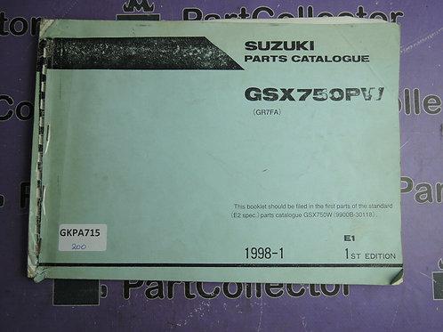 1998-1 SUZUKI  GSX750PW PARTS CATALOGUE  9900B-30118
