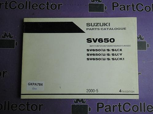 2000-5 SUZUKI SV650 PARTS CATALOGUE 9900B-30127-020