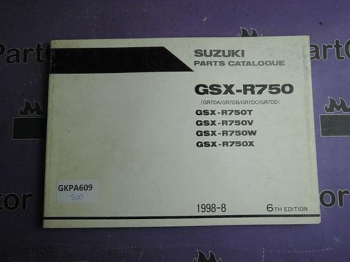 1998-8 SUZUKI GSX-R750 PARTS CATALOGUE 9900B-30103-030