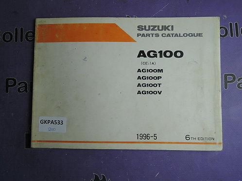 1996-5 SUZUKI  PARTS AG100 CATALOGUE 9900B-20050-030