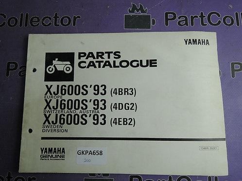 1993 YAMAHA XJ600S PARTS CATALOGUE 134BR-300E1