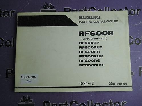 1994-10 SUZUKI RF600RPARTS CATALOGUE 9900B-30092-020
