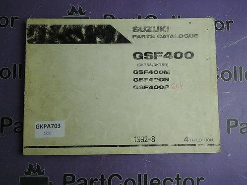 1992-8 SUZUKI GSF400 PARTS CATALOGUE 9900B-30080-020