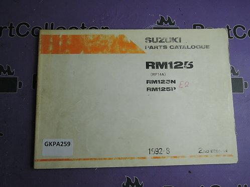 1992-8 SUZUKI RM 125 PARTS CATALOGUE 9900B-20051-010