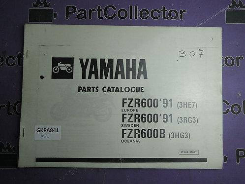 1991 YAMAHA FZR 600 BOOK PARTS CATALOGUE 113HE-300E1