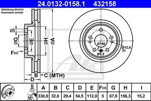 2x ATE 24.0132-0158.1 SET OF BRAKE DISC MERCEDES BENZ 432158