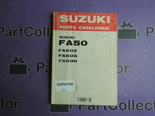 1986-8 SUZUKI FA50 PARTS CATALOGUE 9900B-10009-020