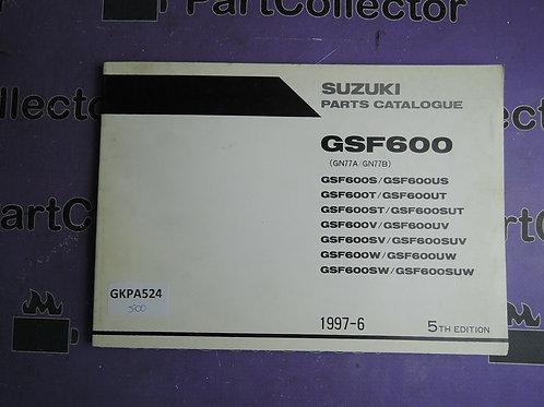 1887-6 SUZUKI  GSF 600 PARTS CATALOGUE 9900B-30098-030