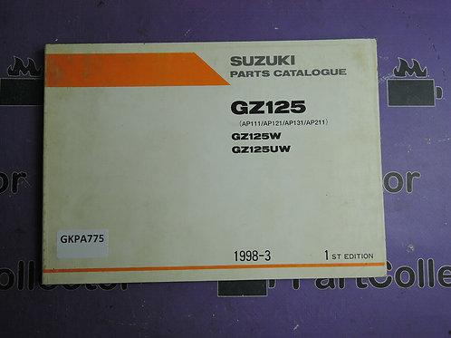 1998-3 SUZUKI GZ125 PARTS CATALOGUE 9900B-20067