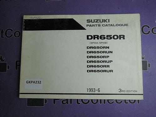 1993-1996 SUZUKI DR 650 RN PARTS CATALOGUE 9900B-30090-020