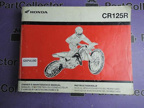 2002 HONDA CR125R OWNER'S MAINTENAGE MANUAL 69KZ4690