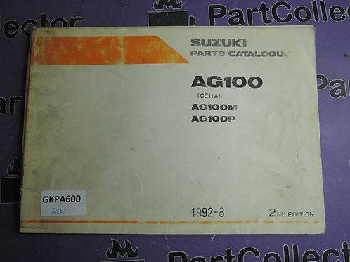 1992-8 SUZUKI AG100 PARTS CATALOGUE 9900B-20050-010