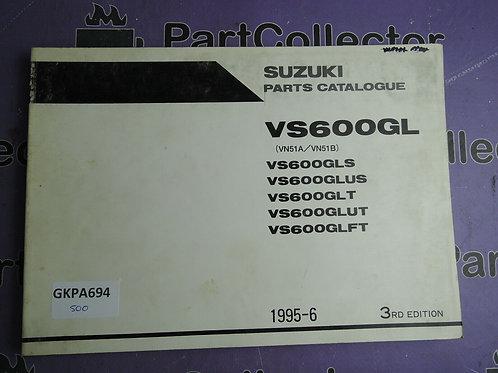 1995-6 SUZUKI VS600GL PARTS CATALOGUE 9900B-30097-010