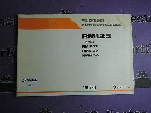 1997-9 SUZUKI PARTS RM125 CATALOGUE 9900B-20062-020