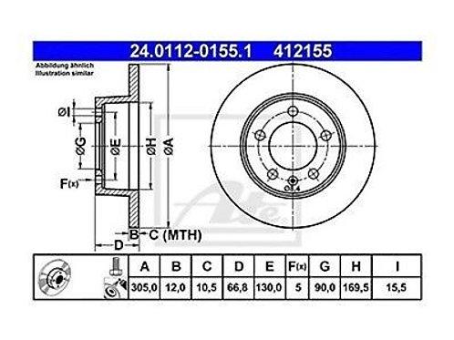 2x ATE BRAKE DISC SET NISSAN OPEL RENAULT VAUXHALL 24.0112-0155.1 412155