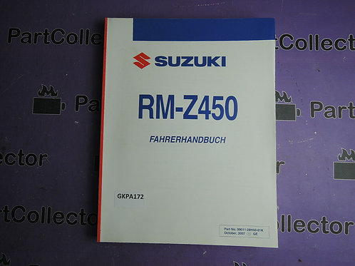 2007 SUZUKI RM-Z450 FAHRERHANDBUCH 99011-28H50-01K